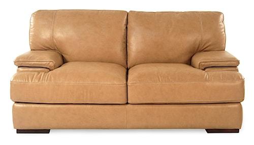 Loft Leather Nassau  Casual Leather Loveseat w/ Block Feet