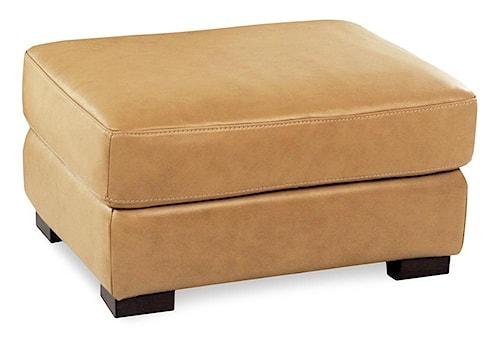 Loft Leather Nassau Leather Ottoman w/ Block Feet
