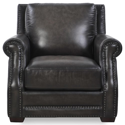 Futura Leather 10030 Traditional Chair with Tapered Wood Feet