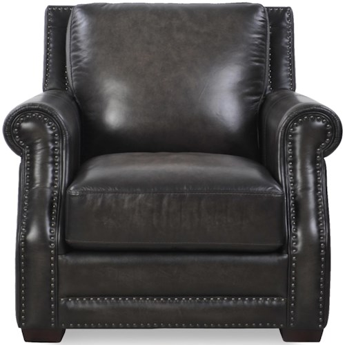 Loft Leather McGregor Traditional Chair with Tapered Wood Feet