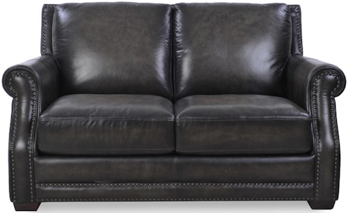 Loft Leather McGregor Traditional Loveseat with Scooped Rolled Arms