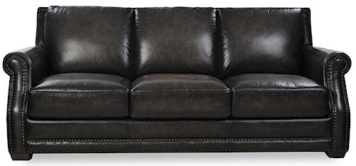 Loft Leather McGregor Traditional Sofa with Nailhead Trim