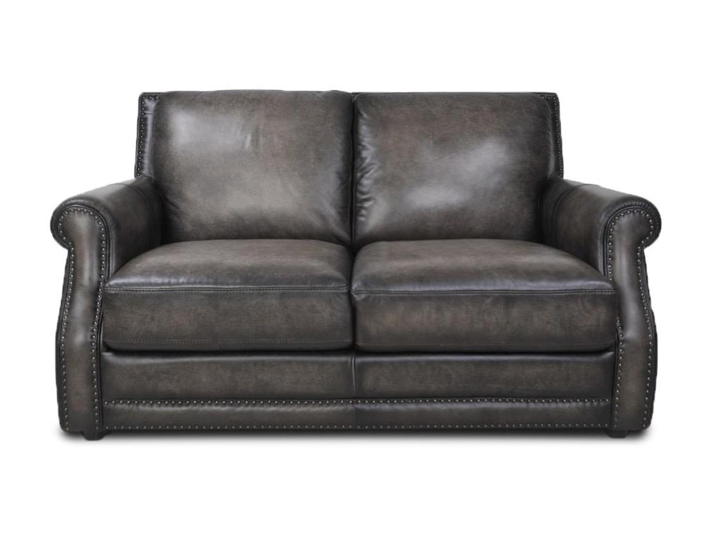 Futura Leather FusionFusion Charcoal Leather Loveseat