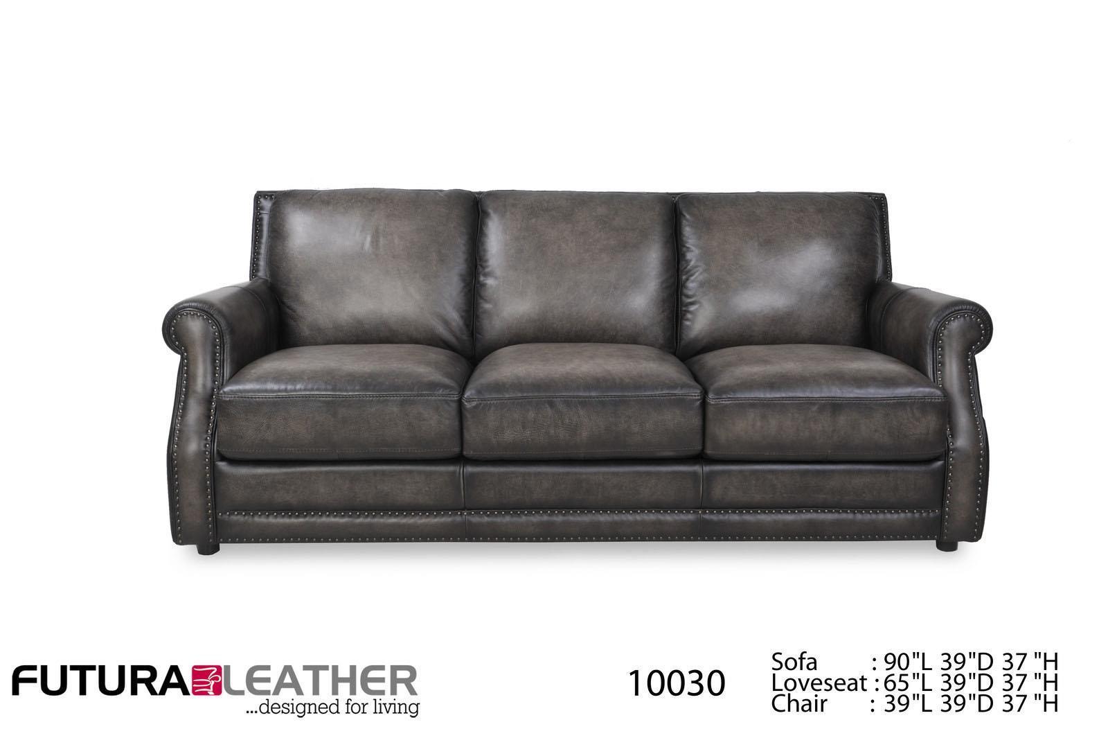 Futura Leather Fusion Fusion Charcoal Leather Sofa