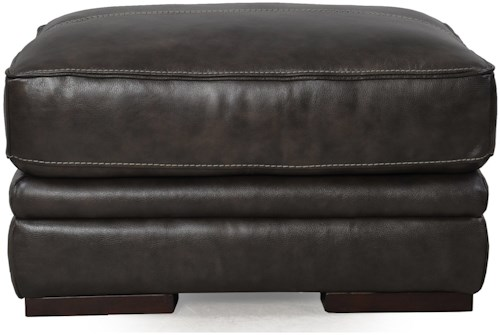 Futura Leather 10105 Ottoman with Contrast Stitching