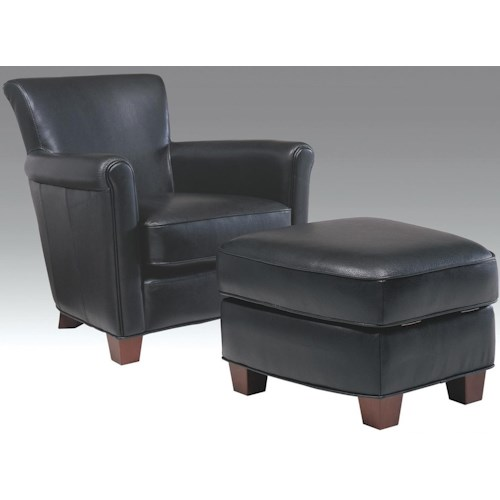 Futura Leather 6307 Casual Chair and Storage Ottoman with Tapered Wood Feet