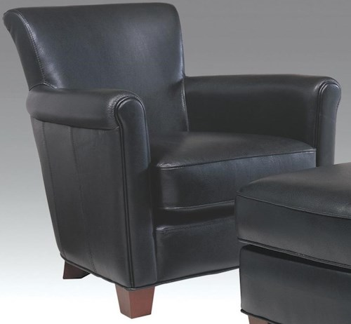 Futura Leather 6307 Casual Chair with Rolled Arms and Tapered Feet
