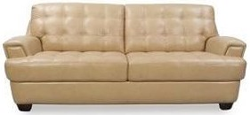 Futura Leather 7182 Stationary Sofa with Tufted Seats and Seat Back