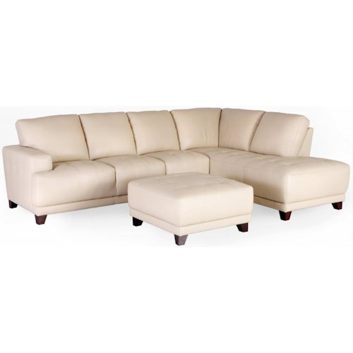 Dante Leather 7323 Sectional Sofa with Block Feet and Track Arms