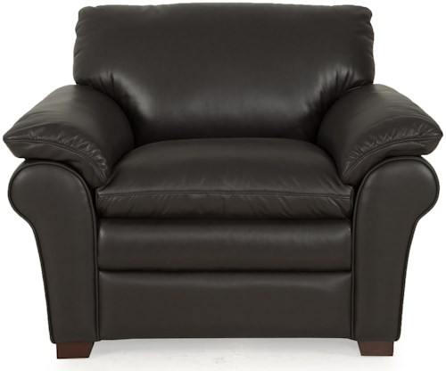 Futura Leather 7439 Contemporary Upholstered Chair with Pillow Top Arms