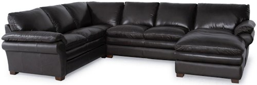 Futura Leather 7439 Contemporary Three Piece Sectional Sofa with RAF Chaise