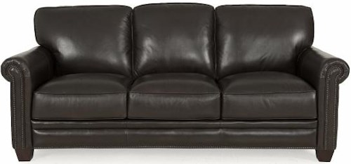 Futura Leather 7888 Stationary Sofa with Rolled Arms, Nailhead Accent and Exposed Wooden Feet
