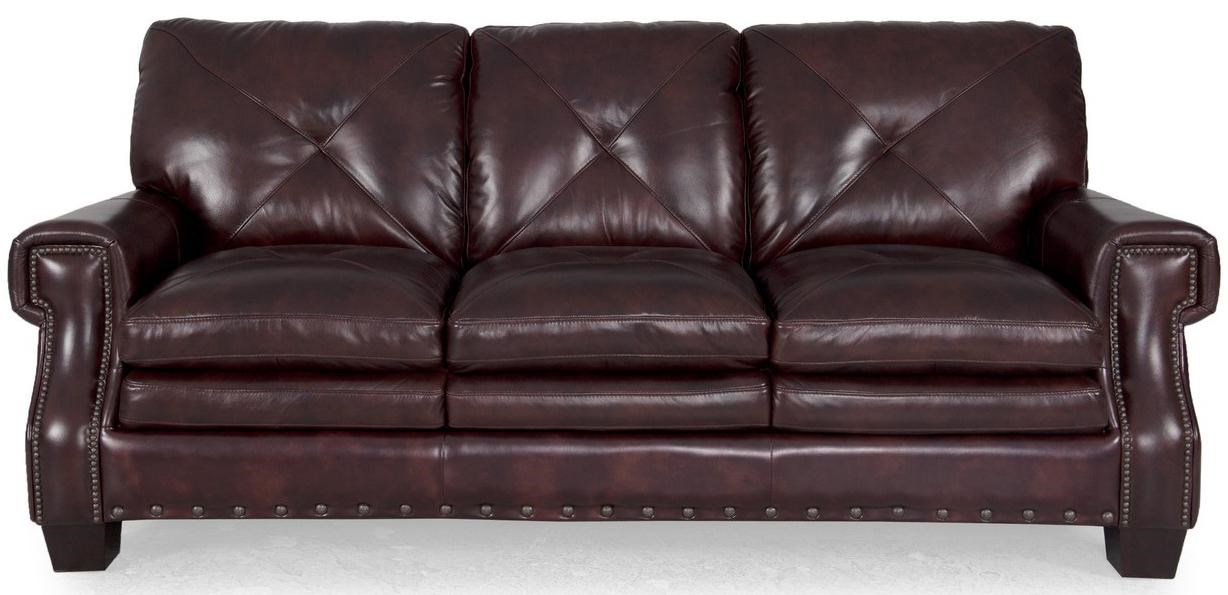 8260 Traditional Dark Leather Stationary Sofa With Nailhead Accents By  Futura Leather