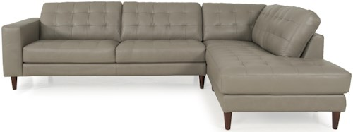 Futura Leather 8424 Mid-Century Modern Sectional with Chaise and Line Tufting