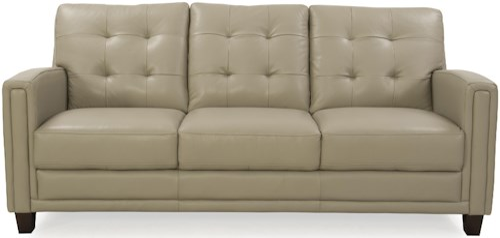 Futura Leather 8583 Leather Sofa with Tufted Back