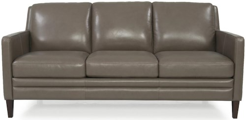 Futura Leather 8648 Contemporary Stationary Sofa with Thin Exposed Wooden Legs and Track Arms
