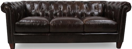 Futura Leather 8687 Traditional Chesterfield Sofa with Diamond Tufting