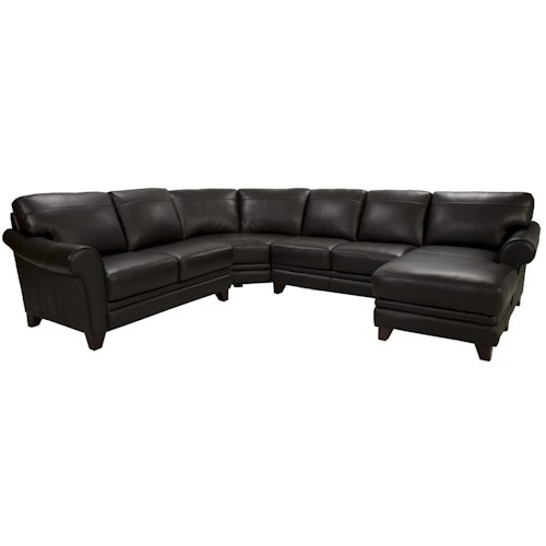 Futura Leather 8817 Leather Sectional with Chaise