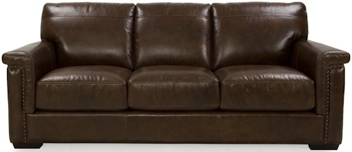 Futura Leather 8941 Stationary Sofa with Key Arms and Nailhead Accent