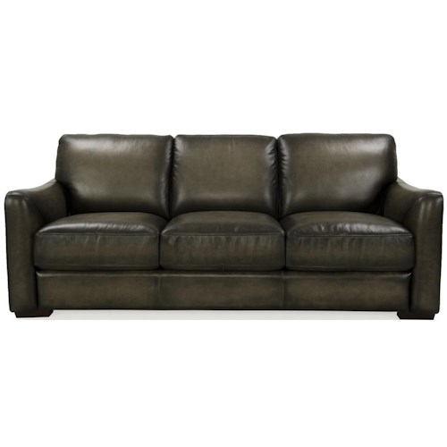 Futura Leather 8944 Transitional Sofa with Block Feet and Flared Arms
