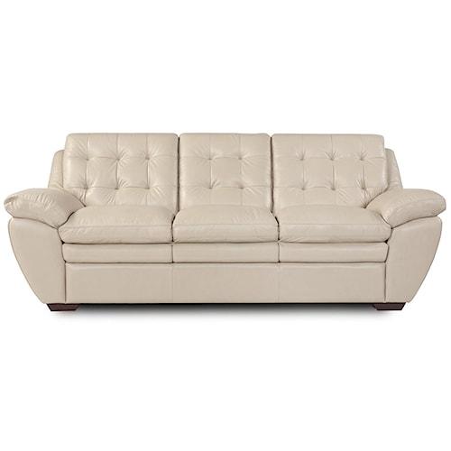 Futura Leather Acacia Taupe 1280 Tufted Taupe Leather Pillow Top Sofa