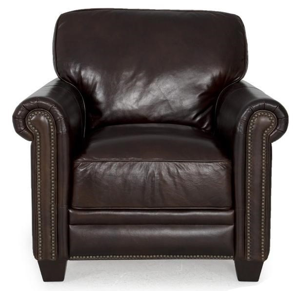 Futura Leather 7888 Dark Brown Leather Chair with Nailhead ...