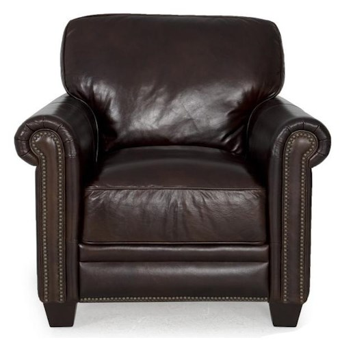 Futura Leather 7888 Dark Brown Leather Chair With Nailhead