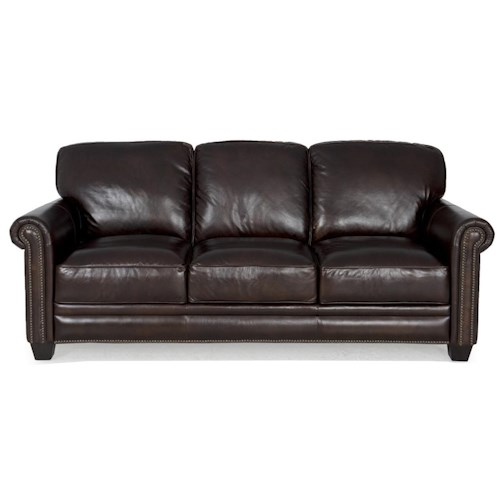 Futura Leather 7888 Dark Brown Leather Sofa with Nailhead Trim ...