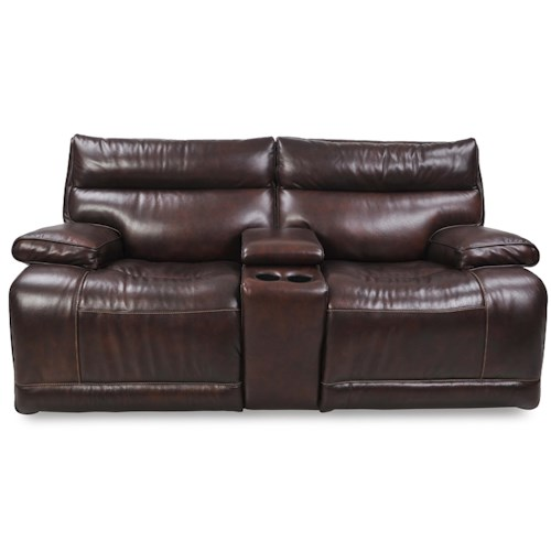 Futura leather e1261 casual electric console motion loveseat with cup holders pilgrim Loveseat with cup holders