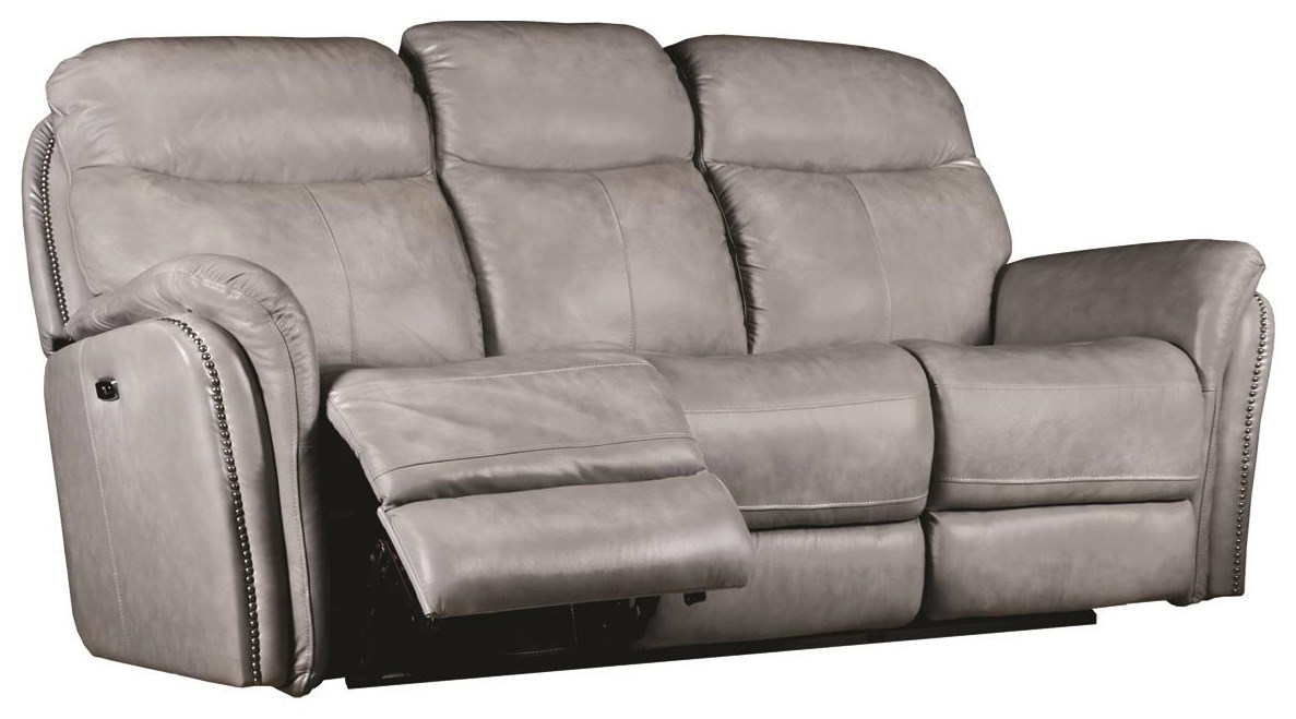 - Transitional Electric Motion Leather Sofa With Pillow Arms