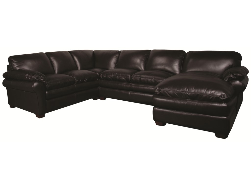 Edison 100% Leather Sectional Sofa by Morris Home Furnishings at Morris Home