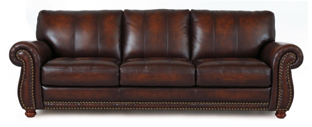 Futura Leather Futura Leather 7530 Traditional Leather Sofa With  ~ Leather Sofa With Nailheads