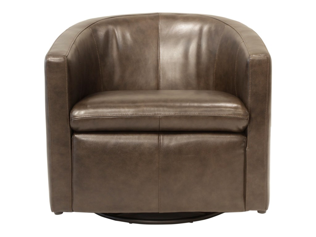 Arcadia Contemporary Swivel Glider Barrel Chair by Futura Leather at Dunk &  Bright Furniture