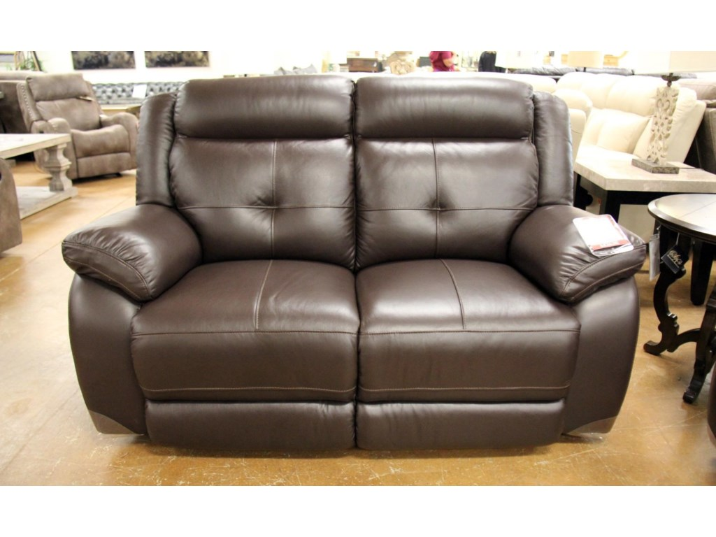 Futura Leather m771Omega Chocolate Leather Reclining Loveseat