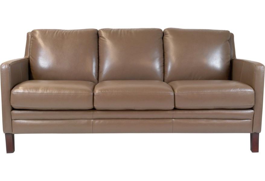Maxim Contemporary Leather Sofa by Futura Leather at Dunk & Bright Furniture