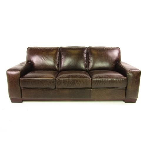 Dante Leather Sprintz Dante Contemporary Leather Sofa With Track Arm And  Plush Seating
