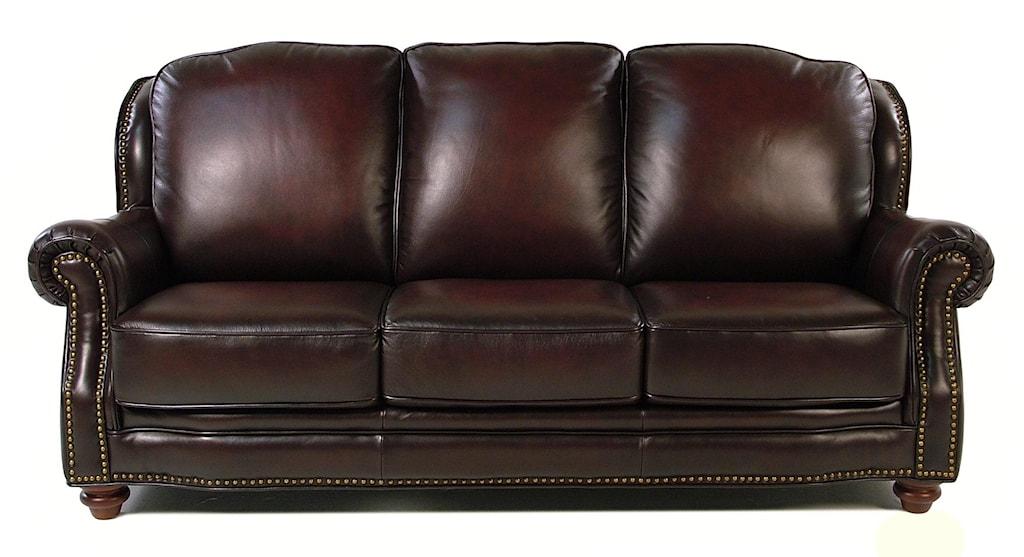 Loft Leather Wallingford Traditional Leather Sofa W Nailhead Trim