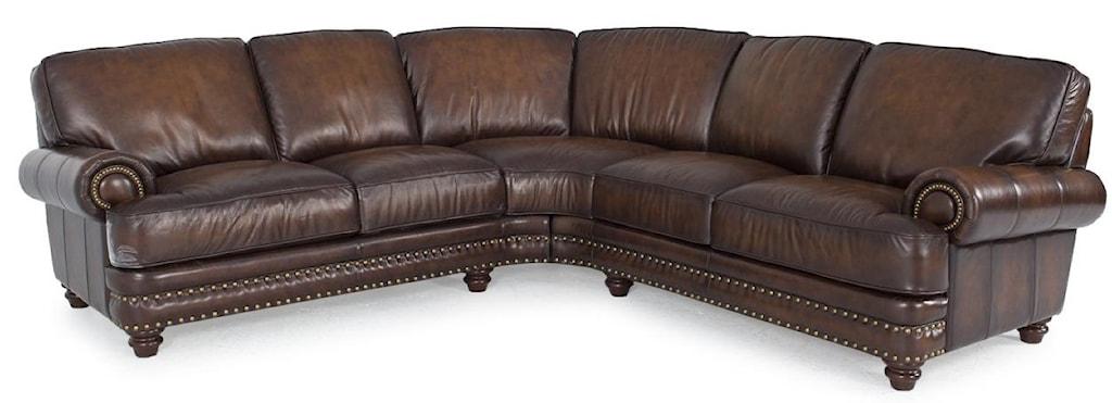 Futura Leather Westbury Leather Traditional Dark Brown Leather  ~ Nailhead Trim Sectional Sofa
