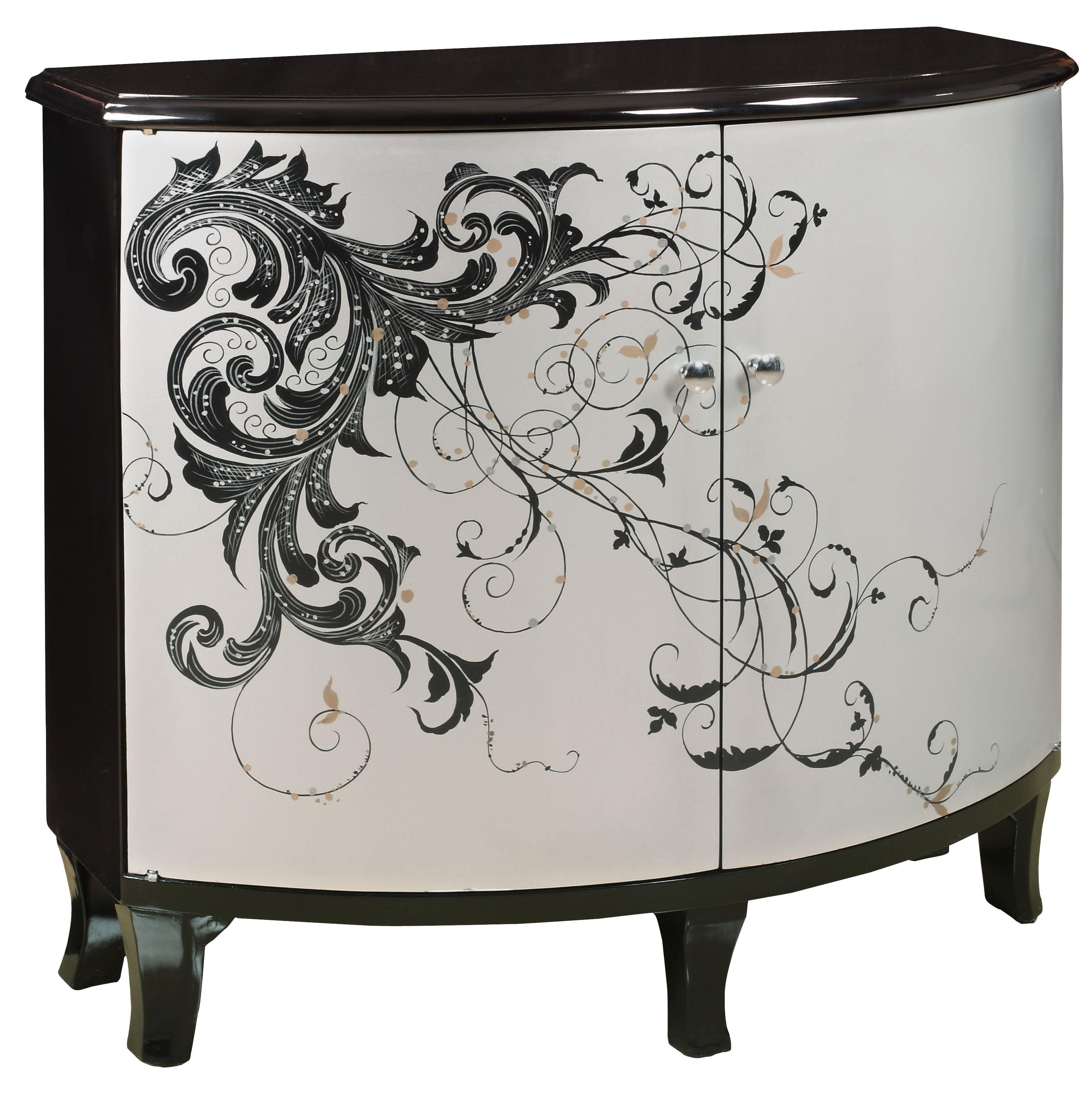 Gailu0027s Accents Accent Chests Demilune Accent Cabinet With Hand Painted  Graphics On Door Fronts