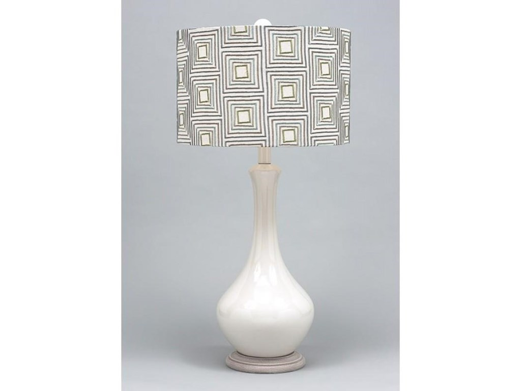 Gallery Designs Lighting Table LampGeometric Embroidered Fabric Table Lamp