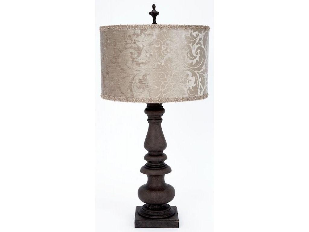 Gallery Designs Lighting Table LampPlatinum Velvet Embossed Shade Lamp