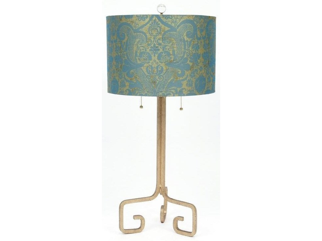 Gallery Designs Lighting Table LampTurquoise Silk and Cast Iron Table Lamp