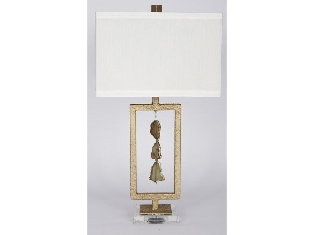 Gallery Designs Lighting Table LampCrusted Gold Foil Finish and Agate Stone Tab