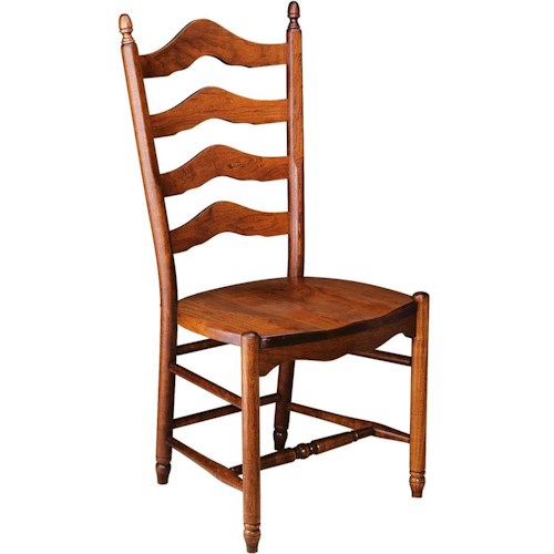 Greenbrier Dining Ladderback Side Chair with Wooden Seat