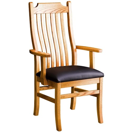 Greenbrier Dining Madison Arm Chair with Leather Seat