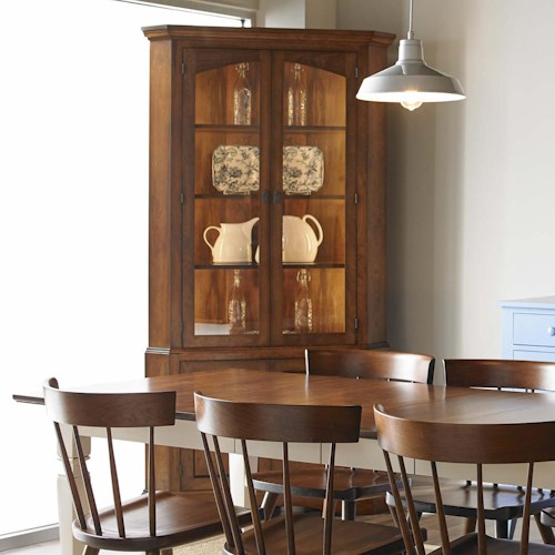 Greenbrier Dining Chase Corner China Cabinet with LED Lighting