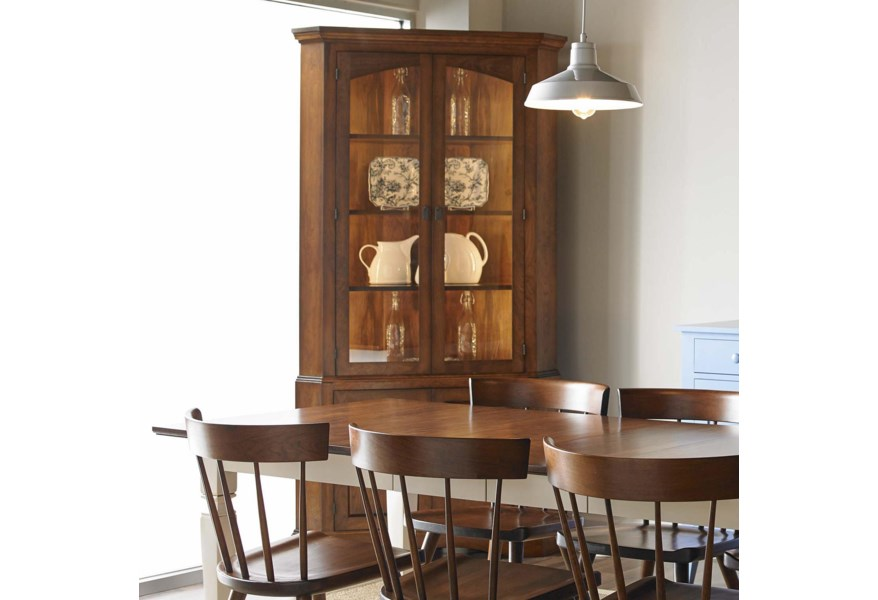 Gat Creek Dining Chase Corner China Cabinet With Led Lighting Belfort Furniture China Cabinets