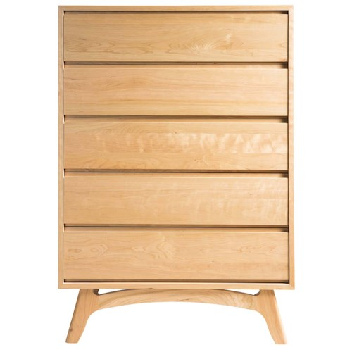 Greenbrier Mitre 5 Drawer Chest with Mid-Century Modern Legs