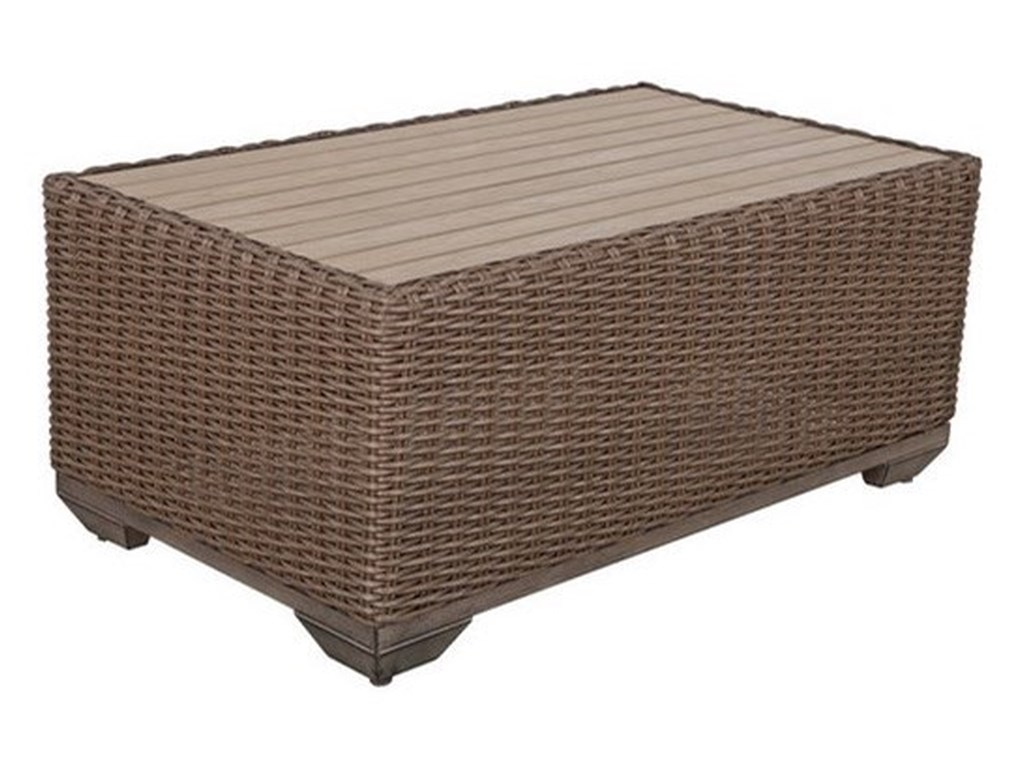 Gatherings brookstone outdoor coffee table with polywood top