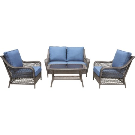 Outdoor Loveseat, 2 Lounge Chairs, And Cockt